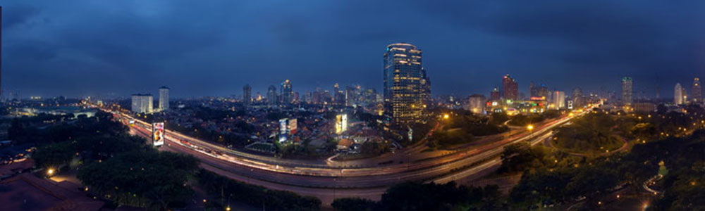 Jakarta at Night was shot from the rooftop of the Hilton Hotel in Central Jakarta